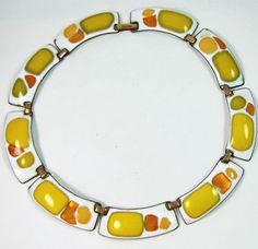 Kay Denning Necklace Enamel Vintage Modern Copper Amber Colors Sold for $ 63