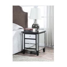 Convenience Concepts Gold Coast Park Lane Mirrored End Table ($202) ❤ liked on Polyvore featuring home, furniture, tables, accent tables, mirrored side table, mirrored glass furniture, mirrored lamp table, convenience concepts furniture and eglomise furniture