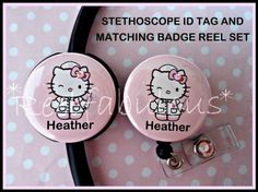 CUSTOM Hello Kitty LABOR /& DELIVERY Nurse Badge Reel and Stethoscope ID Tag Set