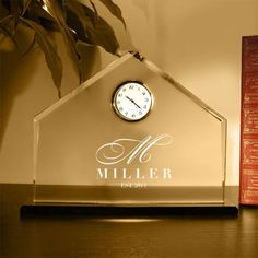 Design's Personalized Glass with Designer Clock by DesignstheLimit