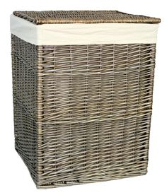 Square Wicker Laundry Basket with Lining Brambly Cottage Size: Large, Finish: White Wash Laundry Cabinets, Laundry Bin, Laundry Sorter, Laundry Hamper, Storage Baskets, Storage Organization, Rattan, Wicker, Hazelwood Home