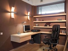 Home Office Interior Design for Small Spaces Pictures - I'm such a freak I'd be afraid the desk would fall off the wall lol!  But I love the clean lines.