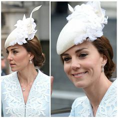 The Duchess of Cambridge and other members of the royal family at the Thanksgiving Service at St Paul's Cathedral . Kate is wearing a new coat by Catherine Walker. 10 June 2016
