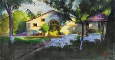 """SMALL HOTEL IN GREECE"", 54x29 cm, watercolor, artist Vladimir Volegov"