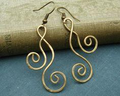 Brass Swirl Dangle Earrings  Dancing Double by nicholasandfelice, $18.00