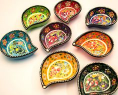 Hand painted ceramic bowls from Turkey available in different sizes and shapes. Colors will vary per order.