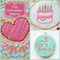 10 Free Embroidery Patterns @HandmadenCraft