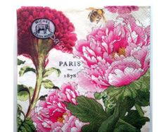 SALE 15% Off Decoupage Napkins Paris Peony 2 (two) BEVERAGE size paper napkins