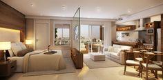 Decoração de apartamento pequeno com  todos os ambientes integrados