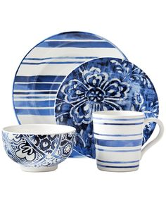 Ralph Lauren Cote D'Azur Mix and Match Collection, coastal blues, dinnerware Casual Dinnerware, Dinnerware Sets, Ralph Lauren, Must Have Kitchen Gadgets, Blue And White China, White White, Blue Plates, White Plates, Ceramic Painting