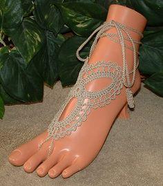 Crochet Tan Khaki Barefoot Sandal, Sandals, Shoe Accessories, Footless, Bottomless, Infinity, Jewelry, Anklet, Bracelet