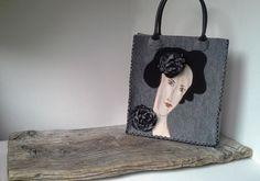 Feltro borsa borse uniche borsa grigio ritratto di di Malikdesign