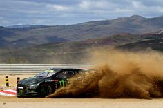 Spitting Dust! Monster Energy LD Motorsport's Liam Doran makes throwing up dirt around the corner in Portugal. #RX // #RXUnleashed www.rallycrossrx.com
