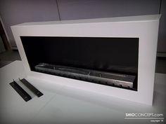 Fabricación Chimenea de Bioetanol a medida 1 m. de longitud y cajón exterior en color blanco. Incluye quemador Long 800