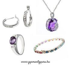 Ametiszt és gyémánttal díszített drágaköves ékszerek a Gyémántgyűrű.hu-tól.