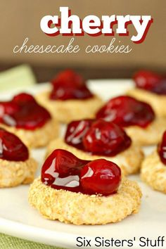 Cherry Cheesecake Cookies with Truvia Baking Blend - Dessert Recipes Cheesecake Cookies, Cookie Desserts, Just Desserts, Delicious Desserts, Dessert Recipes, Yummy Food, Cheesecake Bites, Raspberry Cheesecake, Cheesecake Recipes