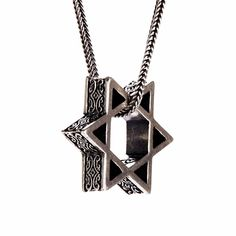 PerePaix Mens Necklace Star of David Pendant Amulet in Sterling Silver Ancient-Inspired Engravings 24
