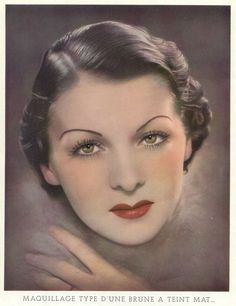 1930s makeup; simple eyes, bold lip and very thin eyebrows