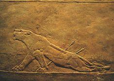 """Anónimo, """"La leona herida"""", palacio de Asurbanipal en Nínive. Alabastro, S. VII a.C."""
