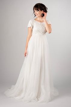 Sweet modest wedding dress, style Hathaway, is part of the Wedding Collection of LatterDayBride, a Salt Lake City bridal store.