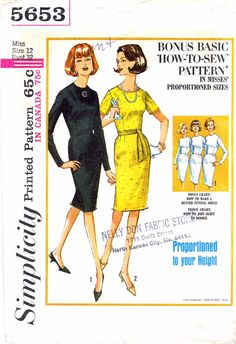1960s Simplicity 5653 Vintage Sewing Pattern Bonus Basic One-Piece Dress in Misses Proportioned Sizes: (Including Tissue Lesson-Chart . . . How to