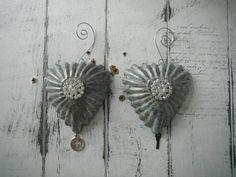 tart tin ornament pair aged tart tins shabby decor faux aged
