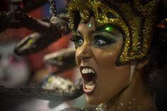 A performer dances during the Salgueiro performance at the Rio de Janeiro Carnival on February 26, 2017.
