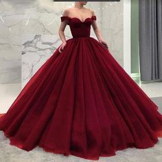 Fashionable Poofy Ball Gown Burgundy Wedding Dresses Off the Shoulder Prom Gown Evening Gowns H01467