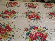 "**SOLD!** VINTAGE RED BLUE YELLOW GREEN FLORAL WHITE COTTON TABLE CLOTH 56"" X 48"" ~40/50's"