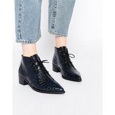 Bronx Croc Effect Ankle Boots (1,095 HKD) ❤ liked on Polyvore featuring shoes, boots, ankle booties, navy, pointed toe booties, lace up bootie, leather bootie, leather booties and pointed toe ankle boots