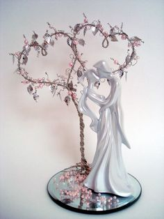 Double Heart Beaded Tree with Figurine Wedding Cake by wireforest, $125.00