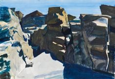 (Rocks), Edward Hopper, watercolor and graphite pencil on paper, 13 × 19 Whitney Museum of American Art. Edward Hopper Paintings, Monhegan Island, Whitney Museum, American Artists, Art Museum, Les Oeuvres, Painting & Drawing, Illustration Art, Illustrations