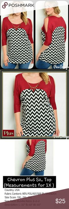 Chevron Plus Sz. Top Black, white, & red plus size top with cold-shoulder design. Detachable red and gold necklace. Jewely's Justifiables Tops