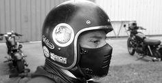 Biker Maske flach 70 schwarz/Motorrad Maske / Leder von BOKENMASK