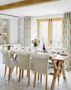 After dining room ideas? Take a look at this lovely scheme with oak furniture and stone floor for inspiration