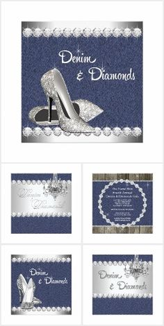 Denim and Diamonds party invitations and products. Womans Birthday Party Denim and Diamonds.