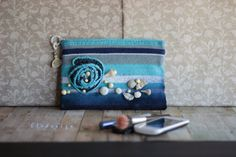 Clutch. Blue striped  hand crochet ombre by mixandmatchEledesign, $45.00