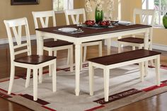 Live the cottage life with this quaint designed 5-piece dining set featuring contrasting color in creamy white and a cherry wood finish. The rectangular shaped cherry wood table top is trimmed in an off-white frame with beautiful embellished legs. In line of similar design and color it also includes seating options that includes four chairs with the option to add a bench.F2391 Dining TableF1351 Dining ChairF1352 Bench60