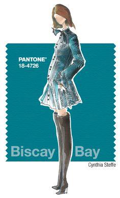 Cynthia Steffe in Pantone Biscay Bay - FALL 2015 PANTONE's FashionColorReport