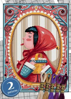 Red Riding Hood and the Wolf 2 PATTERNS INCLUDED Counted cross stitch pattern - Medium/Advanced level All patterns in this shop are also suitable for needlepoint . This is a counted cross stitch pattern of Red Riding Hood and the Wolf from Charles Perrault Red riding hood All