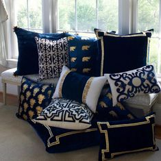 Thurston Reed Navy & Gold Velvet Pillow Collection Available at CenturiaDiscover the Thurston Reed collection of luxury decorative pillows. Individually crafted velvet pillows, silk pillows, luxury accent pillows and giftsLuxury Home Décor Throw Pil Diy Pillows, Sofa Pillows, Decorative Pillows, Throw Pillows, Luxury Home Decor, Diy Home Decor, Art Decor, Cushion Cover Designs, Soft Furnishings