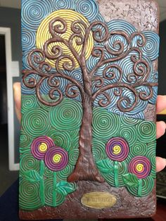 Polymer Clay Journal Cover by Nee Nee Ree.  Tree of Life.