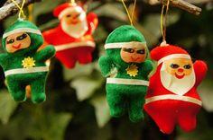 Vintage 50's Flocked Velvet Santa Elf and Angel by SycamoreVintage