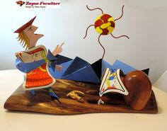 Steel and walnut wood sculpture abstract surrealism by Garry Zayon. Located in Philadelphia Pa 19116. Visit the studio and see furniture and lamps all hand crafted and designed by Garry.