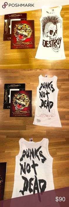 Ed Hardy Graphic Tee and Box Set ☠️ Gently worn 💯% Authentic Ed Hardy graphic tank, printed front to back as shown, really cute! Size is one size fits all but fits a small true to size. Comes with the Ed Hardy box as shown in picture ☺️😉 Price is firm, thank you 🖤 Ed Hardy Tops Tank Tops