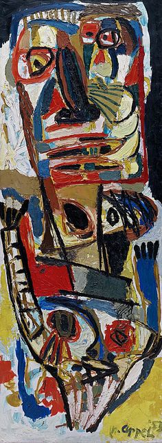 Painting by Karel Appel (1921-2006), 1953, Two Heads (Deux têtes), Oil on canvas. #AbstractExpressionism