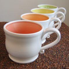 Large Pottery Mugs in Summer Fruit Colors, $86.00 - Karin Lorenc