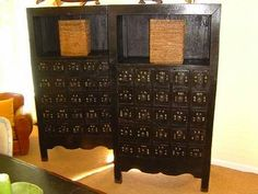 Pair of Dark Lacquered Chinese Medicine Cabinets Open Top Shelf and Chinese Characters on 25 Drawers