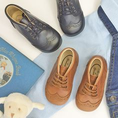 d4e48c55d479 Classic AUGUSTIN leather boots in navy blue or tan brown for toddlers from Menthe  et Grenadine