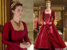 """In the episode (""""Our Undoing"""") Queen Mary wears this Reign Costumes Custom Red Taffeta Gown. She wears the dress with the Thyreos Vassiliki headpiece, Erickson Beamon earrings, vintage necklace from Why Naught Vintage, Gillian Steinhardt. Mary Stuart, Reign Dresses, Royal Dresses, Reign Fashion, Fashion Tv, Reign Tv Show, Reign Mary, Adelaide Kane, Queen Mary"""
